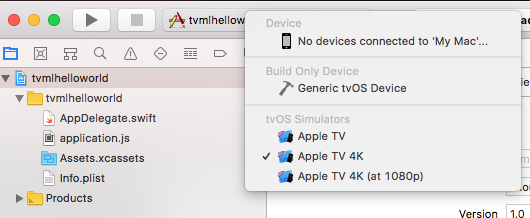 Apple TV and TVOS: Hello world in TVML tutorial (updated for